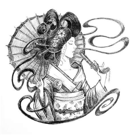 geisha girl tattoo with umbrella umbrella art art drawings and geishas on pinterest