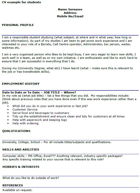 cv student template student cv exle template icover org uk