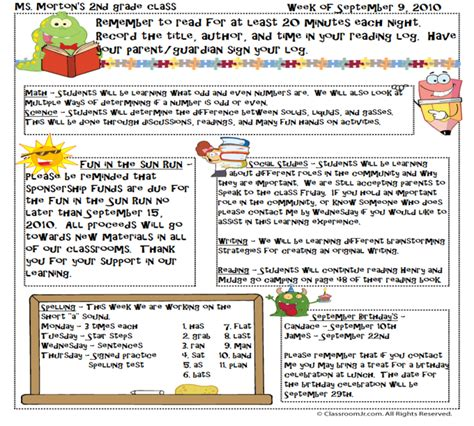 newsletter template for teachers fsuelem kellymorton