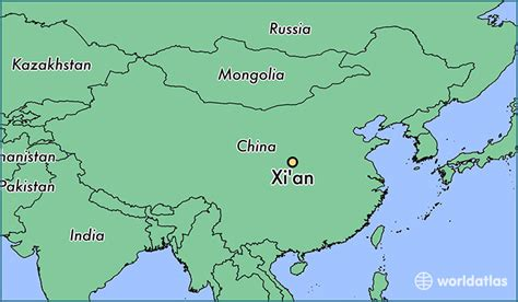 xian china xian shaanxi map worldatlascom