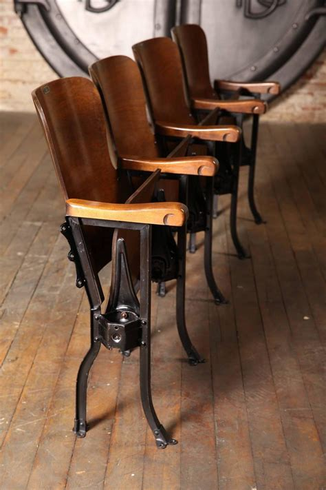 antique theater seats vintage original wood and steel folding theater seats