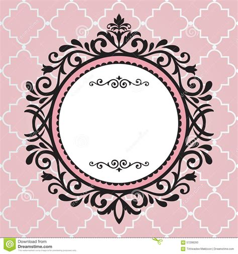 vintage frame pattern free vintage frame on pink pattern stock illustration