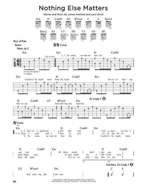 one testo metallica nothing else matters by metallica guitar lead sheet