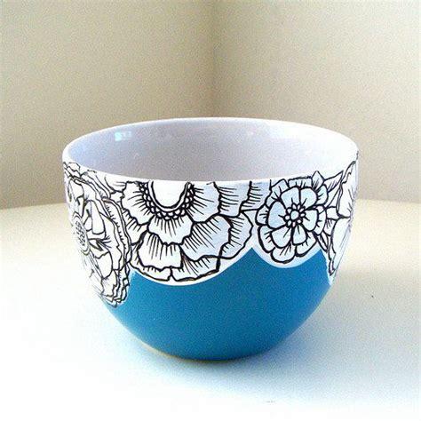 bowl designs ceramic bowl flowers blue black white botanicals painted