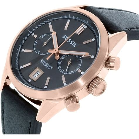 Fossil M1157 Rosegold Black Leather fossil mens gold black leather buy s watches