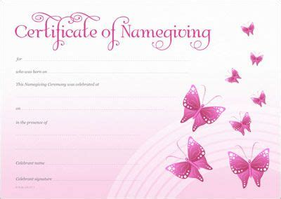 naming certificate template naming certificate template naming certificate pink butterflies design naming day