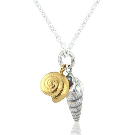 Necklace Silver two silver shells necklace with gold vermeil by
