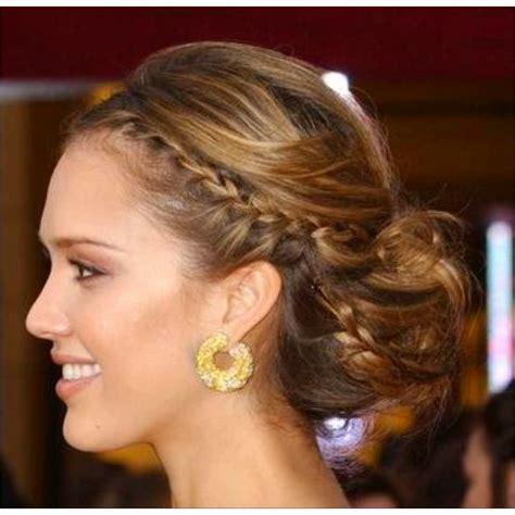 bridesmaid hairstyles jessica alba jessica alba updo braided chignon and chignons on pinterest
