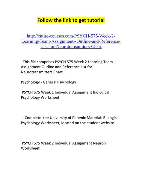Learning Team Paper Outline And References by Psych 575 Week 2 Learning Team Assignment Outline And Reference List For Neurotransmitters Chart