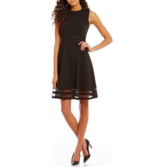 Ck Calvin Klein Sleevlees Dress calvin klein neck sleeveless illusion hem crepe fit