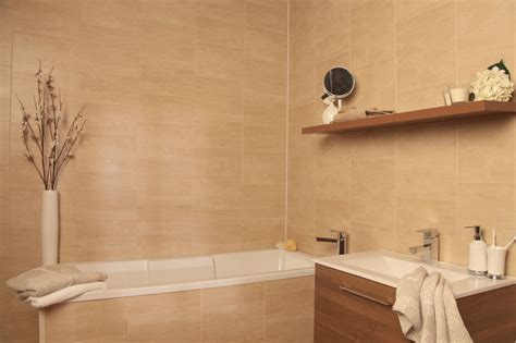 tiled wall boards bathrooms swish marbrex sandstone tile effect sle piece bathroom cladding wall panels ebay