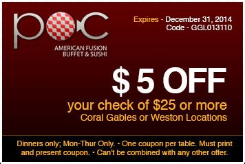 coral gables 2 off coupon