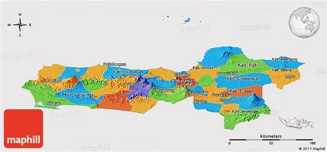 java layout east west political panoramic map of central java cropped outside