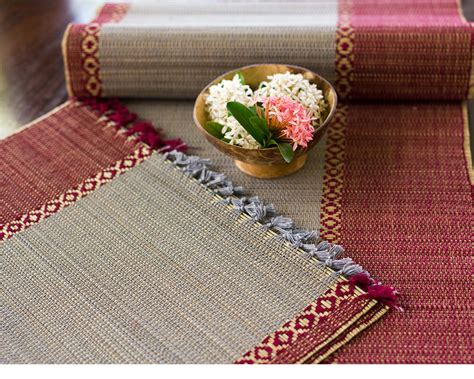 table runner with placemats madur kathi fibre and grey placemats table