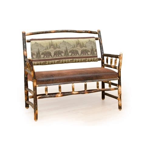 leather bench with back rustic hickory and oak