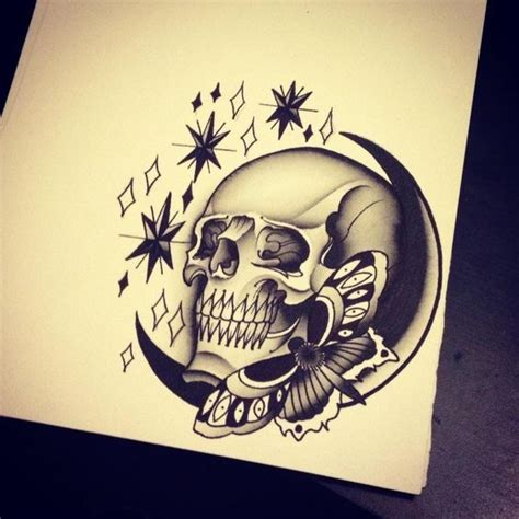 tattoo old school skull old school moth with moon and skull surrounded with stars