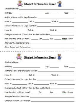 Parent Information Card Template by Student Information And Emergency Contact Card In 2018
