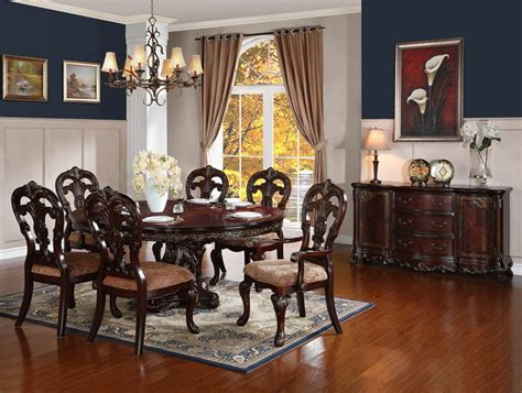 traditional brown  piece dining room set