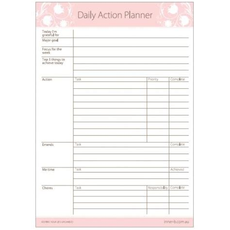 free printable daily action planner 35 best images about planner goodies on pinterest