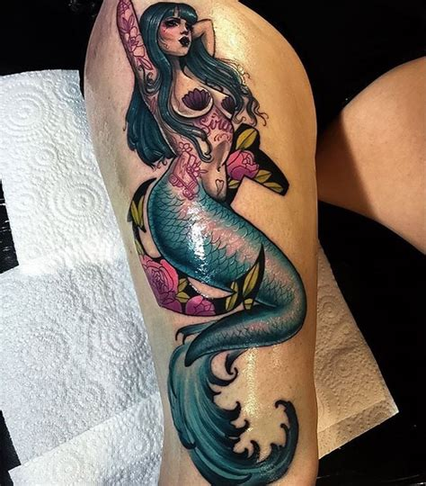mermaid on girls thigh best tattoo design ideas