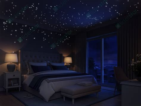 starry night bedroom glow in the dark stars wall stickers 252 dots and moon