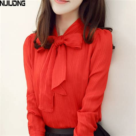 Blouse Top Ov 3per4 nijiuding white blouse work wear bow collar sleeve chiifon blouse top shirt s