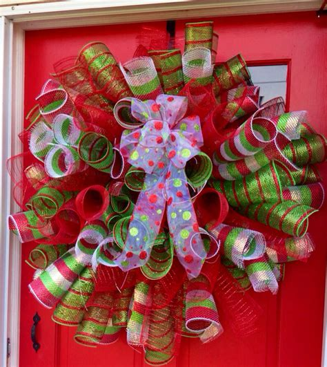christmas mesh wreath unique christmas holiday by apalacheattic