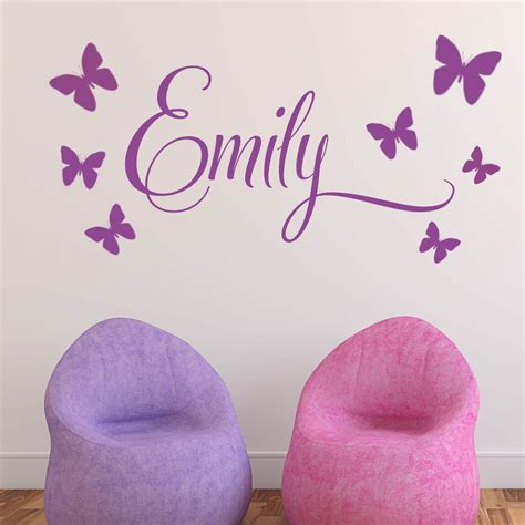 childrens personalised wall stickers personalised children s 7 butterfly name wall sticker decal