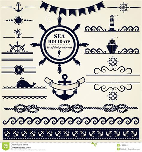 nautical design elements vector nautical and sea design elements vector set stock vector