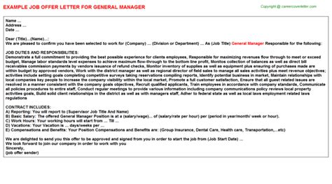 Employment Letter For General Manager General Manager Offer Letters