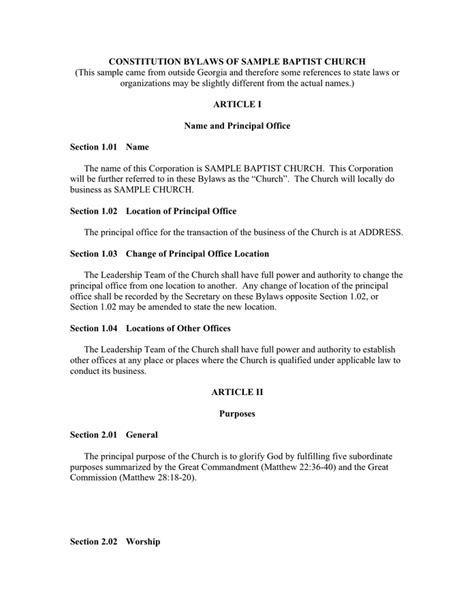 church bylaws template church bylaws template business templates free word