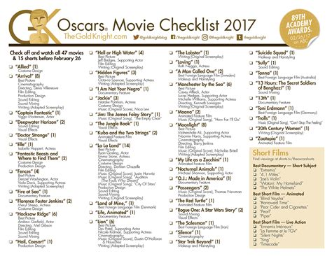 film quiz of the year 2017 oscars 2017 download our printable movie checklist the