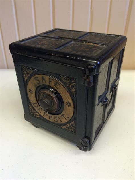 coin bank antique original henry c hart 1885 cast iron safe deposit bank nashua coins and