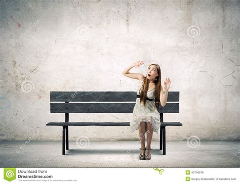 girl bench girl on bench stock photo image 43740979