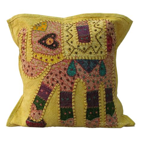 Pillow Patches by 16 Quot Yellow Indian Elephant Patch Embroidered Cushion