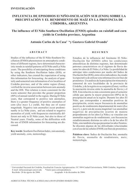 oscilacion sur pdf influencia de episodios el ni 241 o oscilaci 243 n sur enos