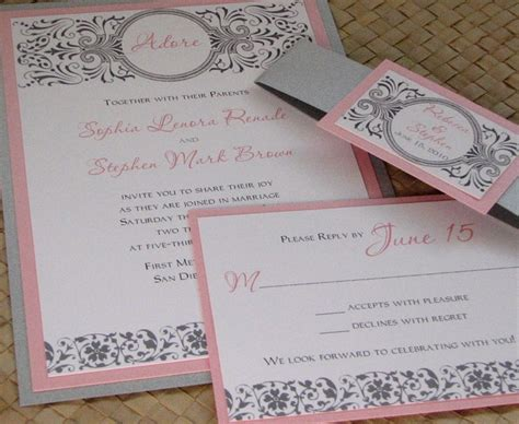 pink and silver wedding invitations damask pink and silver wedding invitation