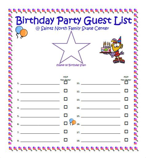 birthday list template sle guest list 8 documents in pdf word excel