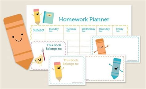 free printable school homework planner zakka life kawaii back to school kit