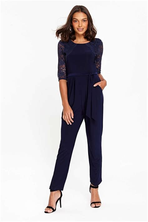 Navy Jumpsuit By Vierra Shop navy lace jumpsuit wallis