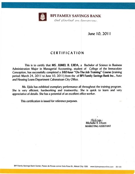 bank certification letter bpi bank certificate bdo sle images certificate design