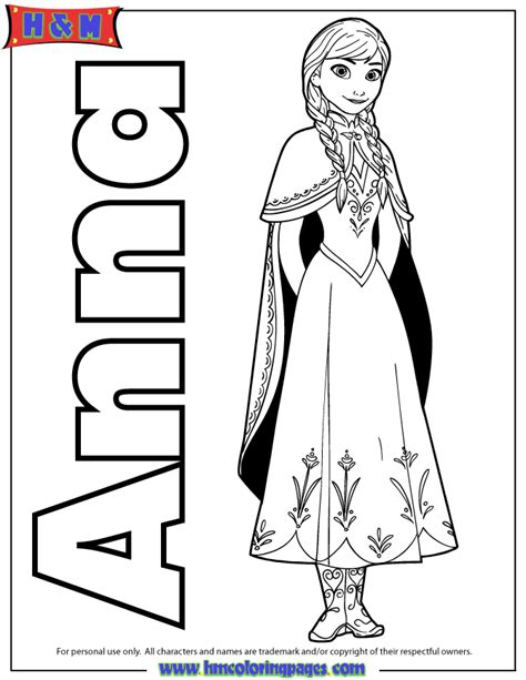 hm coloring pages frozen anna from frozen movie coloring page h m coloring pages