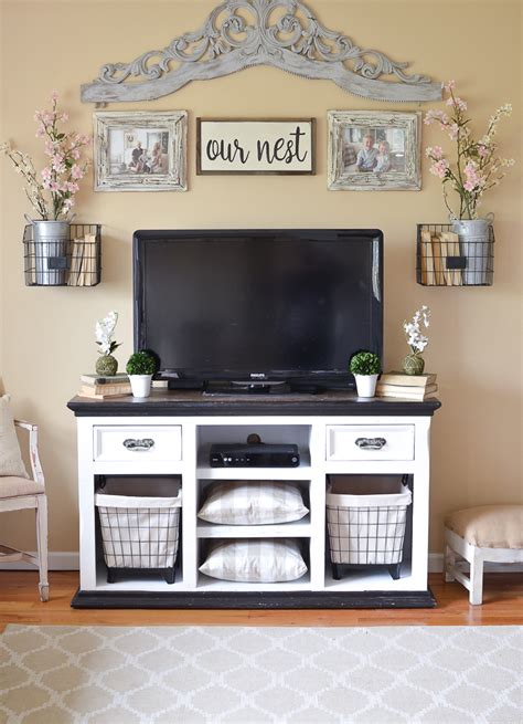 easy farmhouse style tv stand makeover vintage nest - Farmhouse Style Tv Stand
