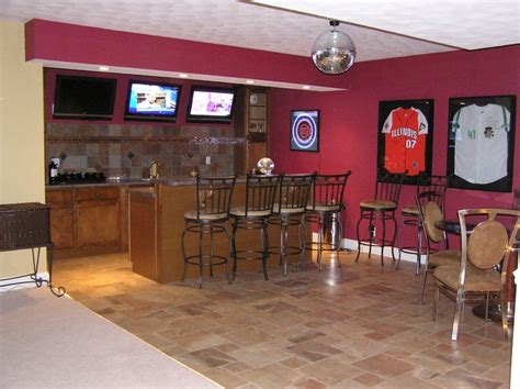 basement sports bar with hardwired disco