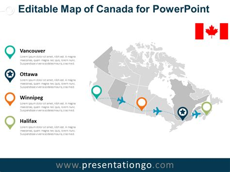 100 Canada Map Coloured Explorer - canada editable powerpoint map presentationgo