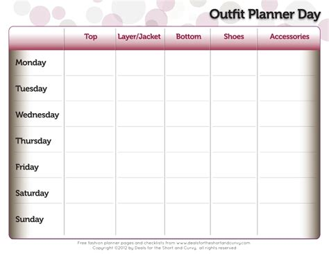 printable outfit planner outfit planner day