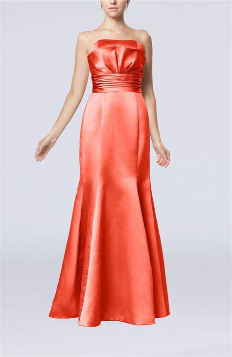 coral evening dress simple strapless satin floor length