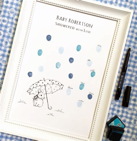 Baby Shower Fingerprint by Fingeprint Guest Book For Baby Showers Bunny