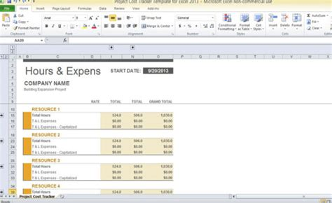 project costing template excel project cost tracker template for excel 2013