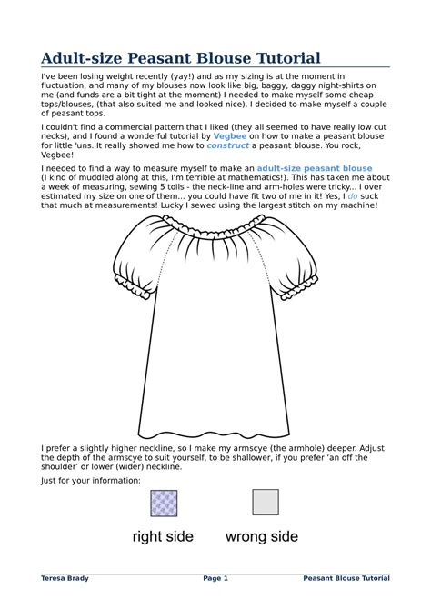 Peasant Top Pattern Girls Free | Adult-size Peasant Blouse
